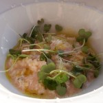 Aged Carnaroli risotto of prosecco poached Italian flat white peaches at Fifteen, Cornwall