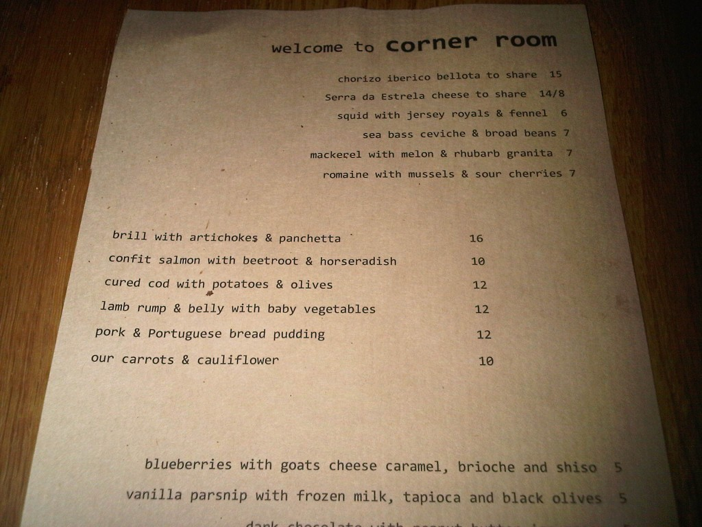 Corner Room Bethnel Green Review In Pursuit Of Food