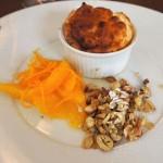 Hazelnut soufflé with orange compote at Philip Britten lunch, Fortnum & Mason