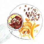 Illustration of hazelnut soufflé with orange compote at Philip Britten lunch, Fortnum & Mason