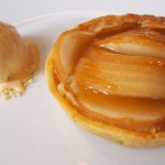 Caramelised pear tart with honey ice-cream at Philip Britten lunch, Fortnum & Mason