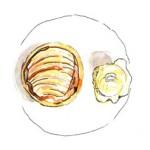 Illustration of caramelised pear tart with honey ice-cream at Philip Britten lunch, Fortnum & Mason