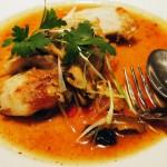 Grilled black cod with yellow bean sauce at Patara, Greek Street
