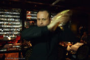 Davide Guidi shaking cocktails at Amaranto Bar, Four Seasons London