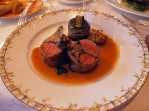 "Roasted loin of lamb stuffed with aubergine confit and grilled pine kernels, ""gâteau"" of moussaka and a light saffron flavoured jus, The Waterside Inn, Bray"