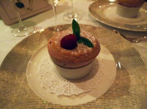 Warm raspberry soufflé, The Waterside Inn, Bray