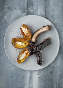 Spare ribs with ginger, honey, grapefruit, soy and coffee