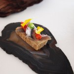 Anchovy toast, flowers, Mirazur, Menton