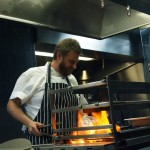 Chef at flame grill, Wabi, Holborn