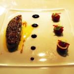 Seared duck foie gras with Muscat grapes and ginger confit, l'Atelier de Joel Robuchon, London