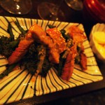 Teppanyaki of ribeye steak marinated for 48-hours in miso, sake and mirin, Luiz Hara, London Foodie Japanese Supperclub with Bordeaux Wine
