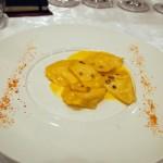Burrata ravioli with l'Aquila saffron, Villa Majella, Abruzzo