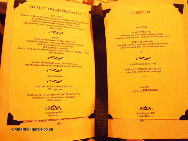 mad hatter menu