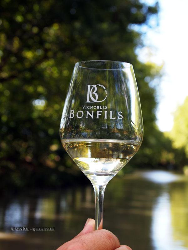 Wine glass on Canal du Midi