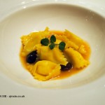 Polenta agnolotti and stockfish stew, Enoteca Pinchiorri, Florence