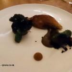 Quail, aubergine, field mushroom and black garlic, Five Fields, Chelsea