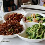 Salad, Dumplings feast at De Fa Chang, Xian, China