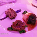 Australian beef trio - Roasted beef tenderloin, port wine demi-glace, pan fried beef tongue on fruit compote, braised beef short ribs on celeriac puree, Sofitel Gala, Sofitel Legends People's Grand, Xian