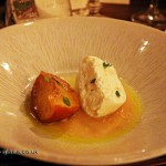 Burrata, roast nectarine, thyme & honey, Mount Gay rum Storied Supper at Dabbous, London