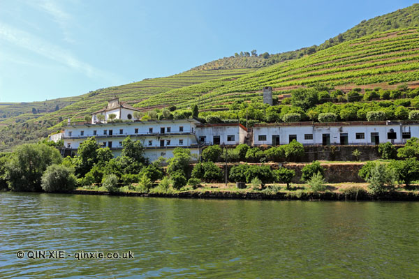Quinta de la Rosa from the river, Douro Valley, Portugal