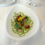 Cold soup of cucumber with marbles of vegetable water, Quique Dacosta, Denia